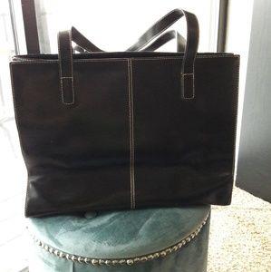 WILSONS LEATHER Black Handled Tote Bag Purse